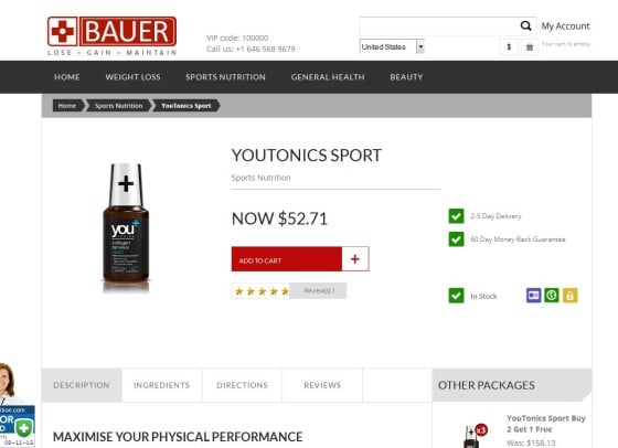 Genuine YouTonics Sport can only be purchased at BauerNutrition